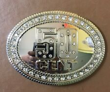 """Hip Hop MEN'S BELT BUCKLE 50 CENTS  WITH STONES AROUND NEW 4.5""""x4.5 Silver Tone"""