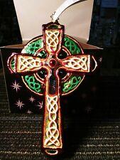 Christopher Radko Christmas Celtic Cross Blown Glass Ornament
