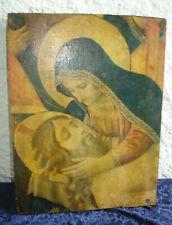 ancienne icône religieuse sérigraphiée sur bois