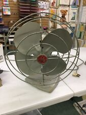 General Electric oscillating fan vintage gray metal 14 inches tall USA made