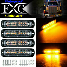 4X 10LED 24V Amber Front Emergency Flashing Light Strobe Flash Warning Vehicle