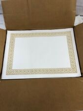 Monogram 715896 Placemats-Greek Key Pattern-Paper-Gold/White, 14 x 10-1,000 CT