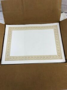 Monogram 715896 Placemats-Greek Key Pattern-Paper-Gold/White, 14 x 10-1,000 CT