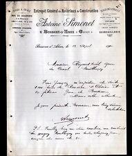 """BUSSEAU-d'AHUN (23) MATERIAUX de CONSTRUCTION """"Antoine SIMONET"""" en 1910"""