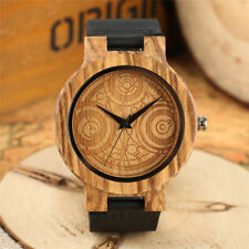 Creative Doctor Who Fire Fighter Pattern Wooden Quartz Wrist Watch Leather Band