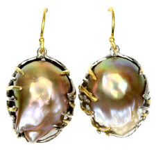NATURAL MULTI COLOR BAROQUE PEARL 23X16 MM. STERLING 925 SILVER 2-TONE EARRING
