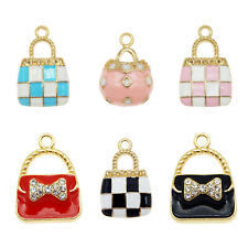 12PCS Enamel Plated Assorted Mixed Handbags Crystal Charms Pendant DIY Findings