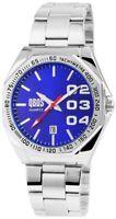 Qbos Herrenuhr Blau Silber Analog Datum Metall Quarz Armbanduhr XRP3122300007