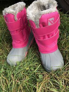 CAMPRI GIRLS PINK AND GREY WINTER WARM SKI SNOW BOOTS SIZE  UK 1 (33) VGC 💦
