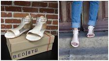 New Bed Stu Sable Nectar Lux White  Rustic Flat Sandals Sz 8 NIB