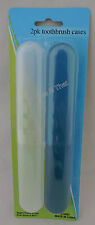 NEW 2 Pack Toothbrush Holders Case Travel Camping Cover Tube Plastic Box Set