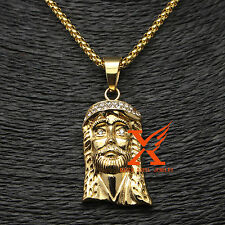 "24"" 3MM STANLESS STEEL ICED OUT GOLD PLATED MICRO JESUS FACE HEAD PENDANT"
