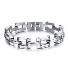 18K Gold GP Great Classy Metal Men's Bracelet Silver