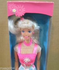 Flower Fun Barbie Doll With Bright Dress Blond Hair NEW In Box! Box Light Wears