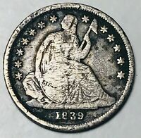 1839 O Seated Liberty Dime 10c No Drapery High Grade Det. US Silver Coin CC4358