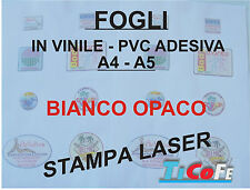 Carta ADESIVA A4 BIANCA OPACO* stampanti laser * 10 fogli * PVC VINILE