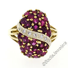 Vintage 18K Yellow Gold 2.87ctw Ruby & Diamond Large Dome Cluster Cocktail Ring