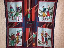 HERMES Aux Sports d'Hiver Winter Sports Vintage Silk Scarf Carre Tuch Foulard