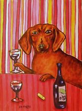 DACHSHUND WINE  dog art PRINT 8x10 animals impressionism