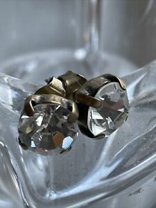 Diamond Paste Earrings Studs Vintage Gold Coloured Metal