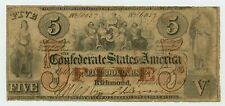 1861 T-31 $5 The Confederate States of America Note - CIVIL WAR Era