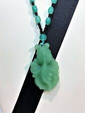 GREEN JADE HAND CARVED FROG PENDANT WITH GREEN JADE BEADS NECKLACE