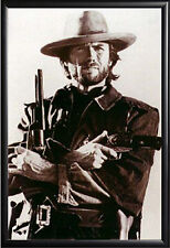Clint Eastwood Cowboy Guns Framed Poster in Premium Wood Molding