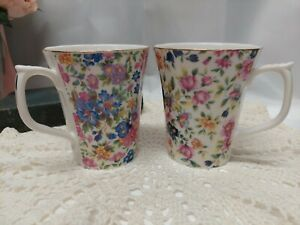 Grace's Teaware Floral Tea Coffee Mugs - Set of 2 BEAUTIFUL