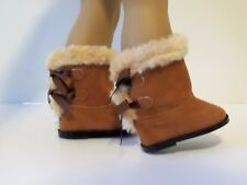 """Brown Fur Hugg Boots Fits 18"""" American Girl Doll Clothes Shoes"""