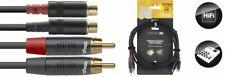 3m Cinch-Verlängerung Verlängerungs-Kabel Chinch RCA Stecker Kupplung Premium