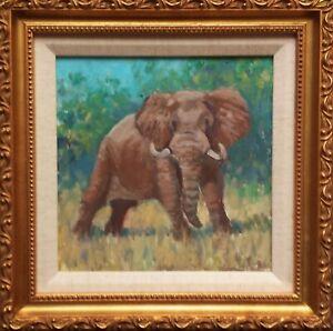 Framed oil on canvas, Bull Elephant