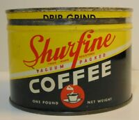 Old Vintage 1935 SHURFINE GRAPHIC KEYWIND COFFEE TIN ONE POUND CHICAGO ILLINOIS