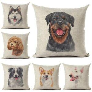 Rottweiler Schnauzer Bull Terrier Corgi Border Collie Dog Printed Cushion Cover