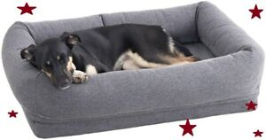 Memory Foam Dog Bed Machine Washable Cover w/Water-Resistant Lining & Free Toy!