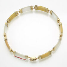 "14k Yellow Gold 10 Partitions Yellow Jade & M.O.P. Bracelet with ""Joy"" Clasp TPJ"