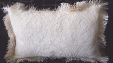 PAIR NEW Cream CHENILLE Reversible Stripe BREAKFAST Cushion covers & fringe trim