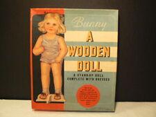 "VTG Paper Dolls, ""Bunny – A Wooden Doll"" 1930's, W/3967 Boxed Set, 1 Statuette D"
