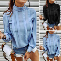 Women Loose Long Sleeve Blouse Solid High Sleeve Casual OL Work Tops Shirt Tee