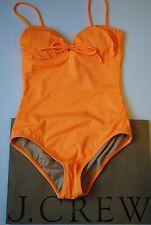 NWT J Crew Neon Tie Front Bandeau Swimsuit One Piece Neon Mango Sz 4 09656