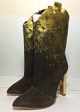=CHIC= RUPERT SANDERSON Brown Suede Leather Gold Foil Cowboy Boots Heels US 9.5