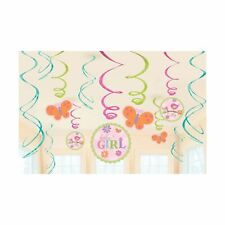 BABY SHOWER GIRL HANGING SWIRL DECORATIONS PACK OF 12