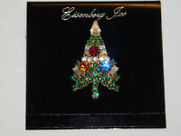 Collectible Vintage EISENBERG ICE Christmas Tree Pin Brooch Signed~Estate