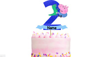Personalised George Pig Birthday Cake Topper Decoration. Any name and age