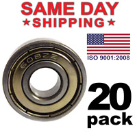 608-ZZ Ball Bearing 8x22x7 Dual Shielded Metal Chrome Skateboard 608Z 20 PCS LOT