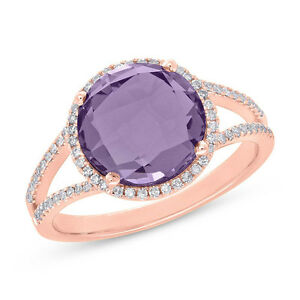 Purple Amethyst Diamond Ring 14k Rose Gold Halo Checkered Split Shank 3.71CT
