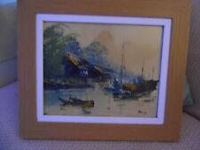 Oil Painting of Chinese/ Vietnam Junk Boats.....Jove Wang? Original. Perfect.