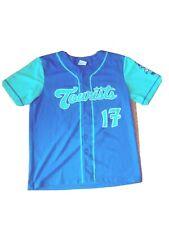 MiLB Asheville Tourists Button Front Baseball Jersey Men Medium Teal and Blue