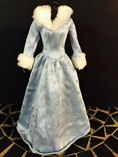 Winter Snowflake Long Sleeve Evening Gown Dress White Fur Trim for Barbie