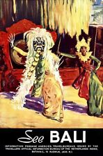 "Vintage Illustrated Travel Poster CANVAS PRINT See Bali Indoesia dance 24""X18"""