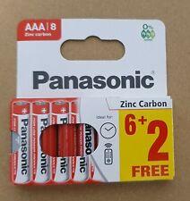 8 x AAA Genuine PANASONIC Zinc Carbon Batteries - New LR03 1.5V MN2400